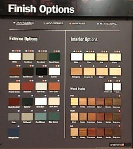 Image of finish options for interior & exterior Andersen doors