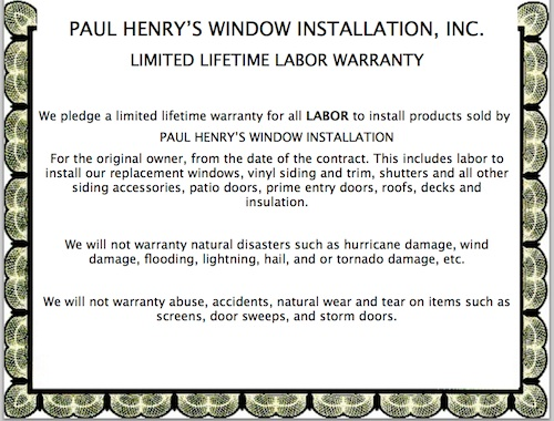 Lifetime Labor Warranty Paul Henry S