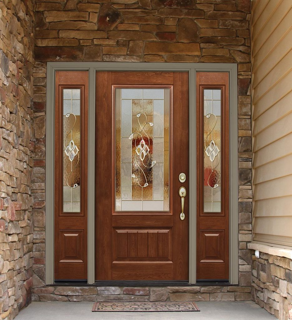 ProVia Signet Fiberglass Entry Door With Sidelites and Decorative Glass