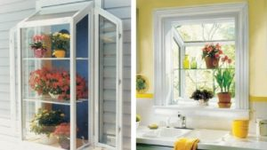 collage photo showing off a garden window like the replacement windows Paul Henry's Windows can install